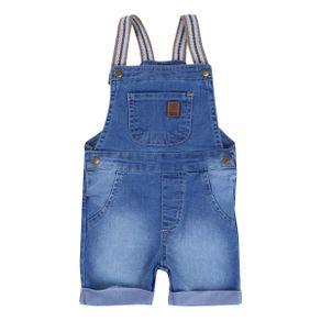Jardineira Curta Din Don Em Jeans Used Com Alça Galão Menino JARDINEIRA DIN DON 3050 JE CTA MNO USED ALCA GA AZUL JEANS P