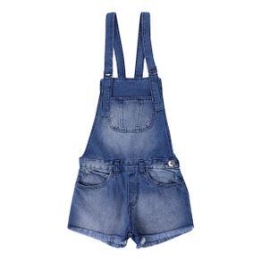 Jardineira Pami Em Jeans Com Barra Dobrada E Bolsos Juvenil JARDINEIRA PAMI 3062 JE BARRA DESFIADA BOLSO F AZUL JEANS 10