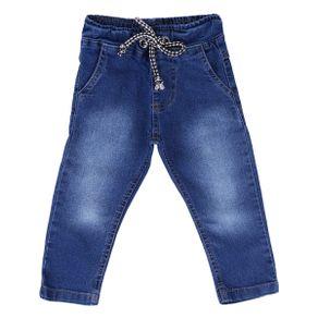 Calça Jeans Din Don Com Lycra E Ilhós Com Cadarço No Cós Menino CALCA DIN DON 2033 JE LY MNO COS ILHOS CORDAO AZUL JEANS P