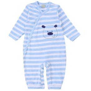 Macacão Longo Smoby Baby Em Malha Listrada Bordado Sortido MACACAO LONGO SMOBY 3418 M LIST BORD SORTIDO AZUL RN